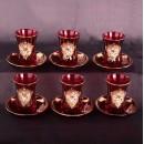 Армуды для чая с блюдцами, Турция, цвет красный,  предметов (6 стаканов + 6 блюдец)
