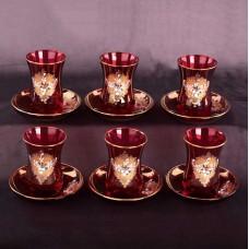 Армуды для чая с блюдцами, Турция, цвет красный,  12 предметов (6 стаканов + 6 блюдец)