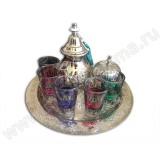 Набор для чая: поднос, чайник с шелковой кисточкой, сахарница, стаканы