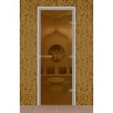 """Дверь для турецкой бани 690*1890 мм, серия """"Стандарт"""", без порога, стекло бронза"""