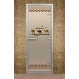 """Дверь для хамама 690*1890 мм """"Шелковый путь"""", стекло бронзовое"""