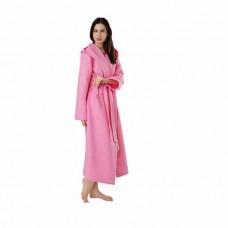 Халат вафельный, цвет розовый, хлопок, женский, с капюшоном 48-50 р-р